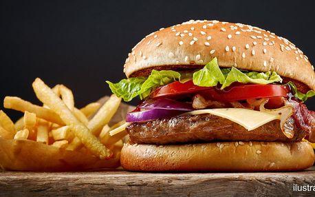Burger podle výběru, hranolky a omáčka pro 1 i 2 os.
