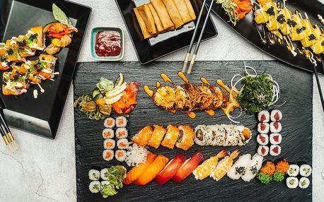 Sushi sety: 24 až 58 kousků, mořské řasy i závitky