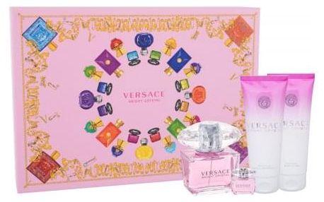 Versace Bright Crystal dárková kazeta pro ženy toaletní voda 90 ml + toaletní voda 5 ml + tělové mléko 100 ml + sprchový gel 100 ml