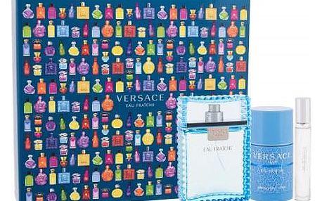 Versace Man Eau Fraiche dárková kazeta pro muže toaletní voda 100 ml + toaletní voda 10 ml + deostick 75 ml