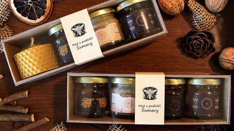 Dárkové sady medů i se svíčkou z podhůří Šumavy