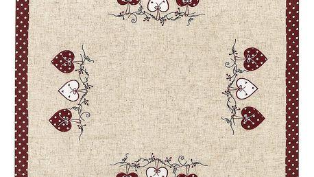 BO-MA Trading Ubrus Srdíčka puntík červená, 85 x 85 cm