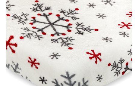 4Home Vánoční prostěradlo mikroflanel Snowflakes, 160 x 200 cm