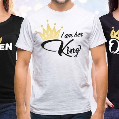 Párová trička s nápisy King a Queen: 100% bavlna