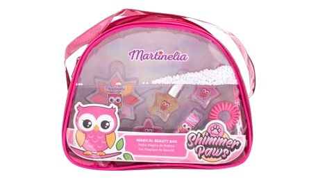 Martinelia Shimmer Paws Magical Beauty Bag dárková kazeta pro děti oční stíny 2,8 g + lesk na rty 2 g + rtěnka 1,8 g + lak na nehty 2 x 3 ml + gumička do vlasů + kosmetická taštička