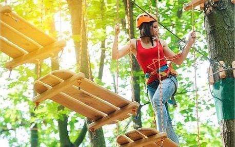 2 hodiny zábavy v lanovém parku v Janských Lázních - velký okruh