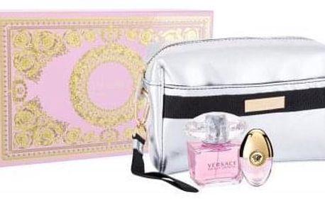 Versace Bright Crystal dárková kazeta pro ženy toaletní voda 90 ml + toaletní voda 10 ml + kosmetická taštička