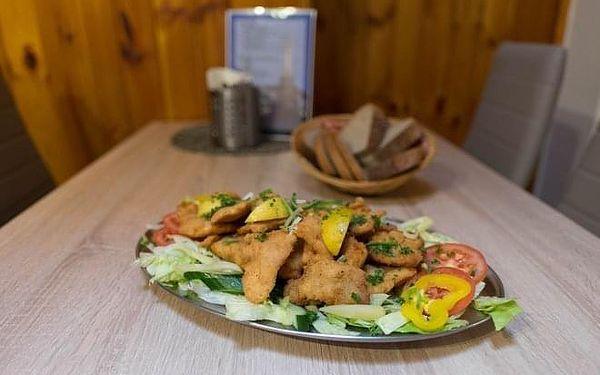 600 g řízků (kuřecí a vepřové), salát a pečivo3