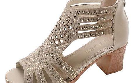 Dámské boty na podpatku Calantha Béžová - 38 - dodání do 2 dnů