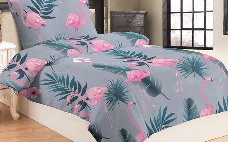 Jahu Povlečení mikroplyš Flamingo grey, 140 x 200 cm, 70 x 90 cm