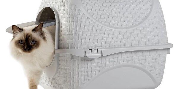 Toaleta pro kočky Rattan bílá, 42 x 50,5 x 40 cm4