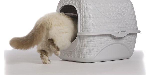 Toaleta pro kočky Rattan bílá, 42 x 50,5 x 40 cm5