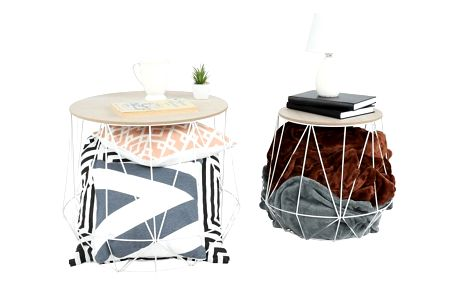 Tempo Kondela Set příručních stolků, přírodní/bílá, DALUX