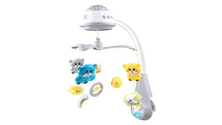 Baby Mix kolotoč nad postýlku se světelným projektorem šedá