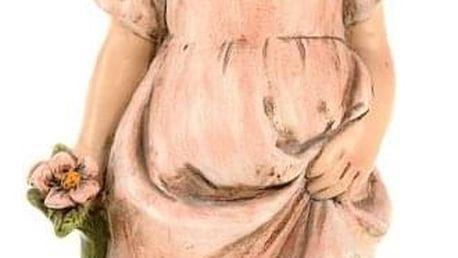 Zahradní soška Děvčátko s květinou, 30 cm