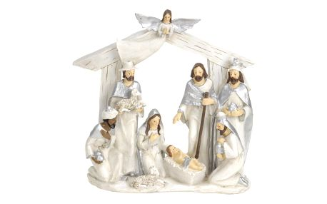 Vánoční dekorace Betlém stříbrná, 22 x 7