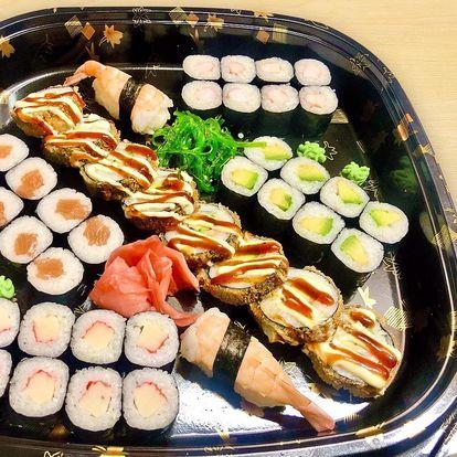 24 až 60 ks sushi: sety s lososem, krabem i vege