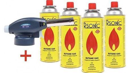 Plynový hořák + 4 ks plynové kartuše