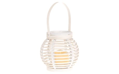 Lucerna s LED svíčkou Lucida, bílá, 14 x 13 x 14 cm