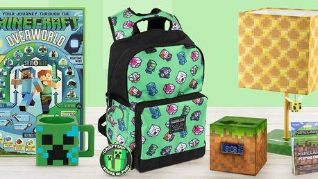 Minecraft přívěsky, batohy, hrnky i budík či lampa
