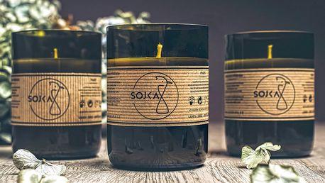 Sojové svíčky české výroby v recyklované lahvi