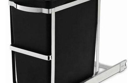 Vestavný odpadkový koš Simplehuman – 30 l, výsuvný, lesklá ocel, plastový kbelík