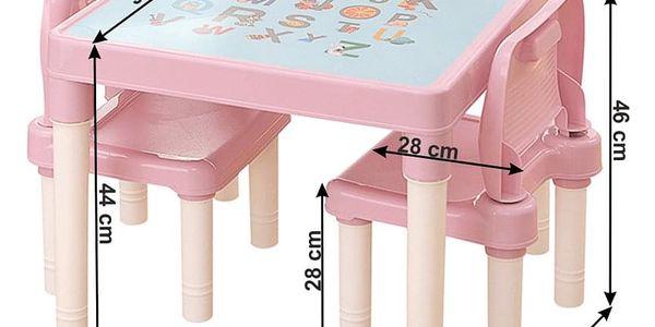 Dětská sasa stolečku a židliček Balto 3 ks, růžová2