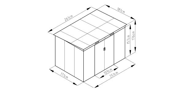 Zahradní domek ZEUS 2C 4,72 m² antracit IWH-102300075