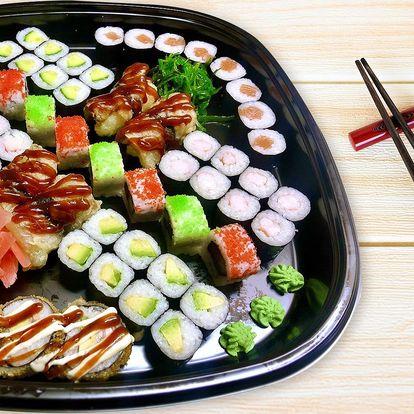 24–60 ks sushi: sety s lososem, krabem i vege