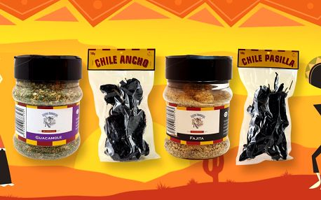 Sušené a drcené chilli, sůl i směsi koření z Mexika
