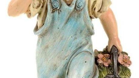 Zahradní soška Chlapec s košíkem, 30 cm