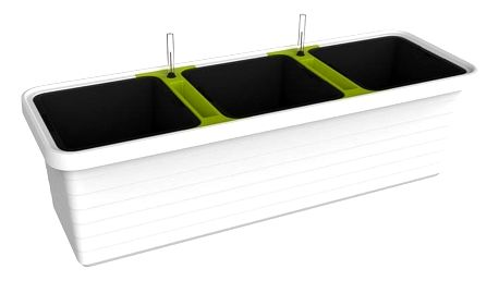 Plastia Samozavlažovací truhlík Berberis TRIO, bílá + zelený příčník