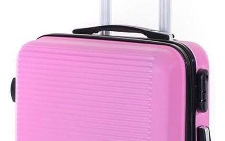 Pretty UP Cestovní skořepinový kufr ABS03 S, růžová