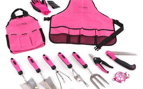 Sixtol Sada zahradního nářadí Garden pink, 12 ks