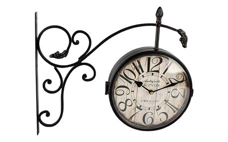 Dakls Kovové hodiny s teploměrem Vintage, černá