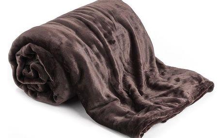 JAHU Deka XXL / Přehoz na postel tmavě hnědá, 200 x 220 cm