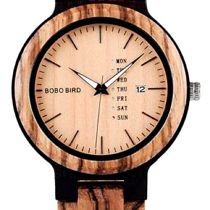 Dřevěné hodinky Bobo Bird s datumovkou