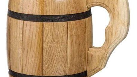 Ručně vyrobený dřevěný korbel s nerezovou vložkou