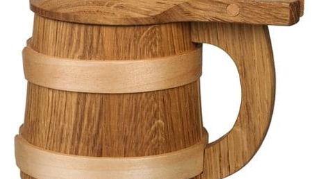 Ručně vyrobený dřevěný korbel: dekorační