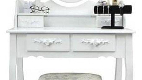Toaletní stolek s taburetem Emilie, 143 x 74 x 40 cm