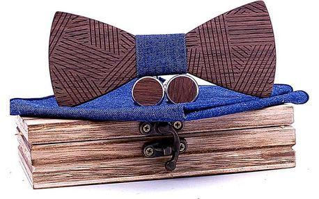 Dřevěný motýlek: Set s kapesníčkem a knoflíčky