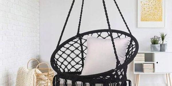 Domarex Závěsné houpací křeslo Luna černá, 60 x 80 x 120 cm4