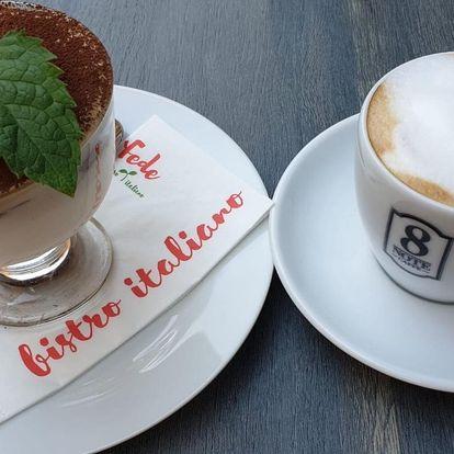 Tiramisu a káva či čaj v italském bistru pro 1–2 os.