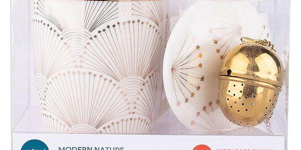 Altom Porcelánová sada hrnku se sítkem Modern 300 ml, zlatá3