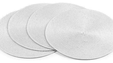 Jahu Prostírání Deco kulaté bílá, sada 4 kusů, 35 cm