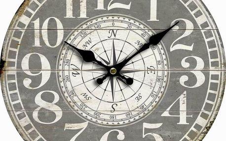Dřevěné nástěnné hodiny Vintage compass, pr. 34 cm