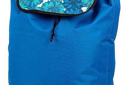 Nákupní taška na kolečkách Květy, modrá