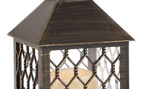 Lucerna s LED svíčkou Rigel, hnědá, 10,5 x 23,5 x 10,5 cm