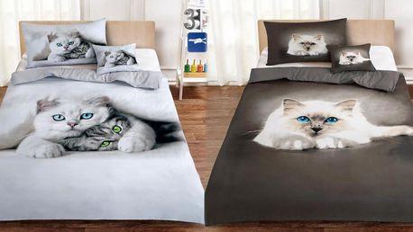 3dílné soupravy 3D povlečení s motivy koček