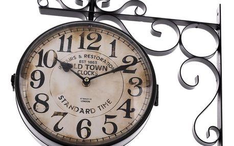 Oboustranné závěsné kovové hodiny Standard time, 38 x 40 cm